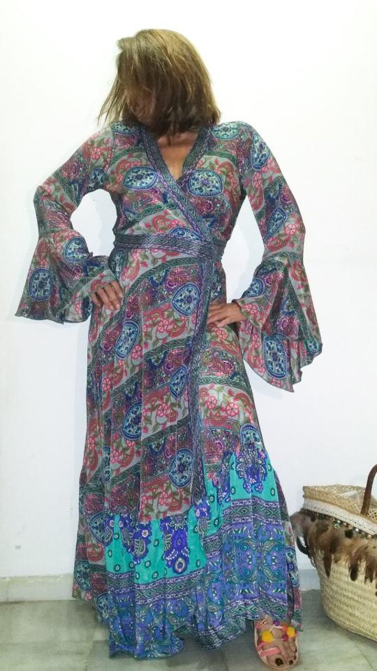 Vestido kimono seda india boho La Loca Púpura