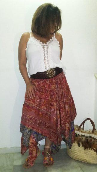 Vestido falda seda india boho La Loca Púrpura