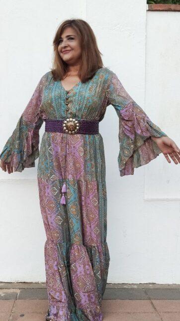 Vestido largo boho seda La Loca Púroura