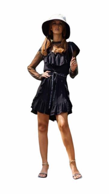 vestido corto negro con plumeti