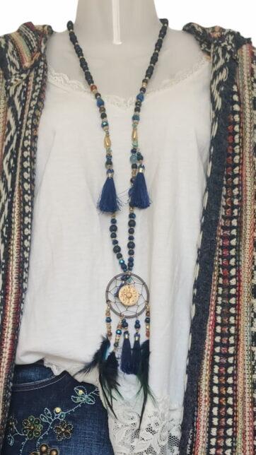 Collar atrapasueños con plumas azul
