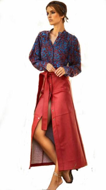 Falda símil piel roja