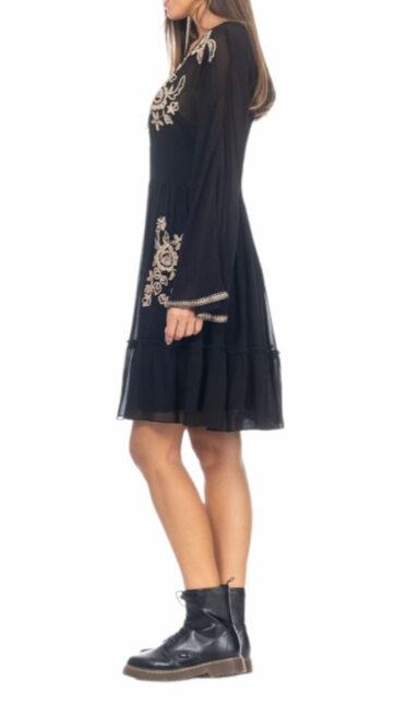 Vestido corto de viscosa negr