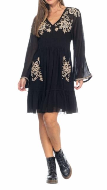 Vestido corto de viscosa negro